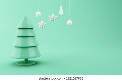 3d illustration. Abstract christmas tree with Christmas decoration on green background. xmas holiday concept.