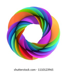 3d illustration - Abstract colorful symbol isolated on white background