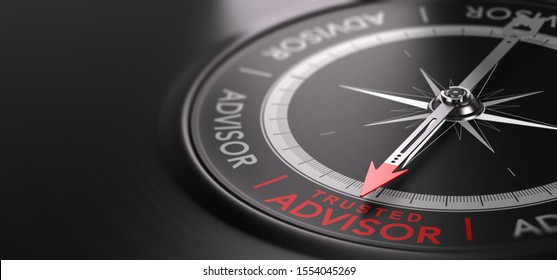 3D illustration of an abstract  compass over black background with needle pointing the text trusted advisor. Trustworthy financial advisory Concept