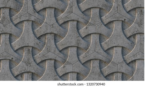 3D illustration. Abstract concrete 3d geometric background with shadow. In the architectural structure is an ornament. 3d panel. Background. Render. three-dimensional geometric composition.concrete .