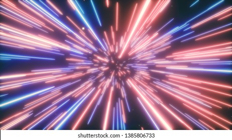 3d illustration of abstract creative cosmic background. Hyper jump into another galaxy. Speed of light, neon glowing rays in motion. Beautiful fireworks, colorful explosion, big bang.