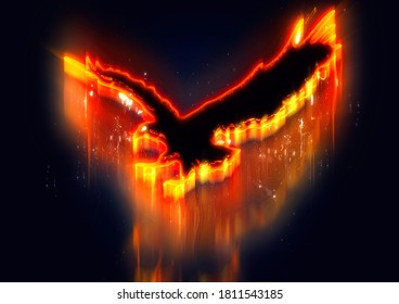 3D illustration of an abstract firebird flaunting the darkness