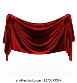3d illustration, abstract folded cloth. Red curtain on a white background.