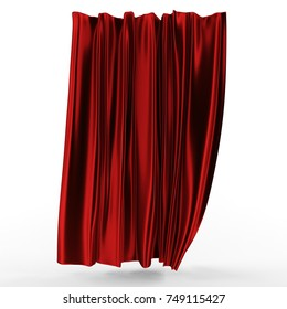 3d illustration, abstract folded cloth. Red curtain on a white background