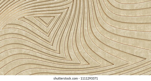 3d illustration. Abstract gold background with the effect of depth of field. 3d panel of smooth, voluminous, gold lines, different shapes and directions. Render. 3d texture of the wall, wallpaper.