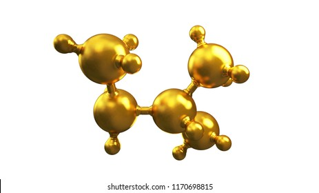 3D illustration of abstract gold molecule background.