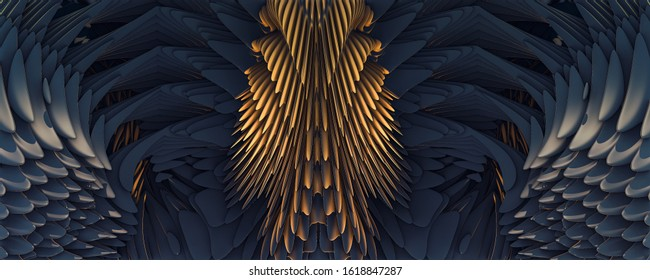 3d illustration abstract golden eagle wings background