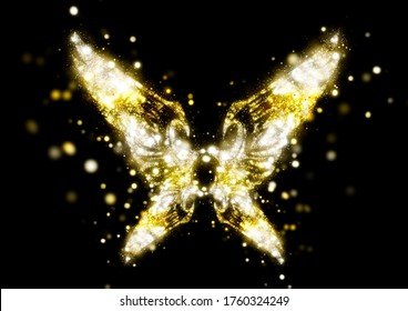 3D illustration of abstract golden wings shining with light