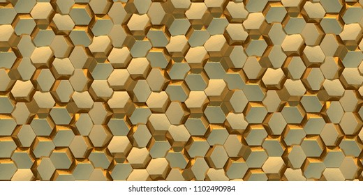 3d illustration. Abstract hexagonal golden background with the effect of depth of field. A large number of gold hexagons. Cellular, gold 3d panel. Render. 3d texture of a wall, hexagonal clusters