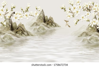 3d illustration, abstract hills in the water, white magnolia flowers on the branches