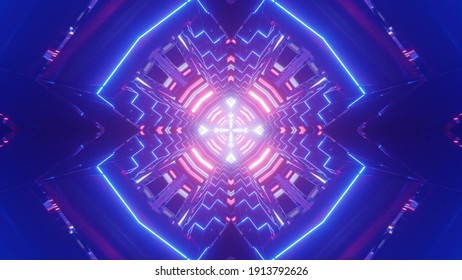 3D illustration of abstract neon ornament