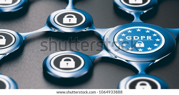 3D illustration of an abstract network protected against intrusion. GDPR compliance Concept
