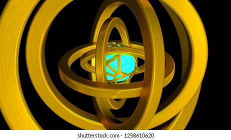 3D Illustration of abstract perpetual motion machine.