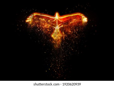 3D illustration of an abstract phoenix flapping in the night sky