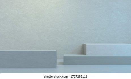 3D illustration of abstract podium pale blue composition, 3d render. Room for your text and products