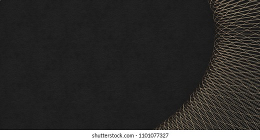 3D illustration. Abstract relief black background with gilding. Volumetric figure of gold lines isolated on a black relief background. Rende