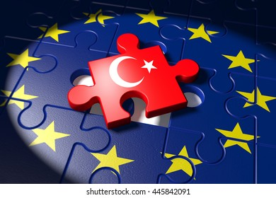 3D Illustration, Accession negotiations between Turkey and the EU symbolized as a puzzle