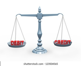 3d illustration of accounting term debit and credit on balance scale