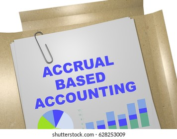"""3D illustration of """"ACCRUAL BASED ACCOUNTING"""" title on business document"""