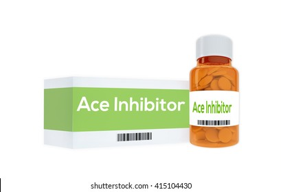 """3D illustration of """"Ace Inhibitor"""" title on pill bottle, isolated on white. Medication concept."""