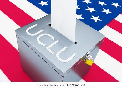 3D illustration of ACLU script on a ballot box, with US flag as a background. American Civil Liberties Union.