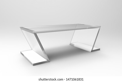 3D illustration of a acrylic table on a white background