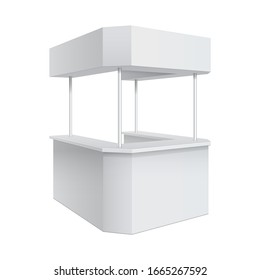 3D illustration Advertising POS POI Promotion counter, Retail Trade Stand Isolated on the white background. MockUp Template For Your Design. Front view and perspective view.