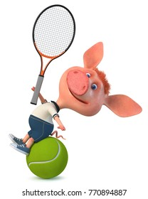 3d illustration agricultural animal Piglet playing tennis/3d illustration fun little pig athletic