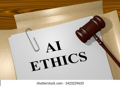 3D illustration of AI ETHICS title on legal document