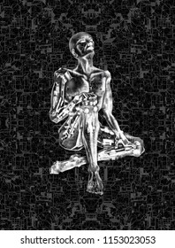 3D Illustration of an AI robot, on a mecanical mesh circuitry, with pistons and metallic contraptions, in a ghost-like shell, mimicking a human.