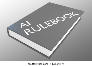3D illustration of AI Rulebook script on a book, isolated on gray gradient.