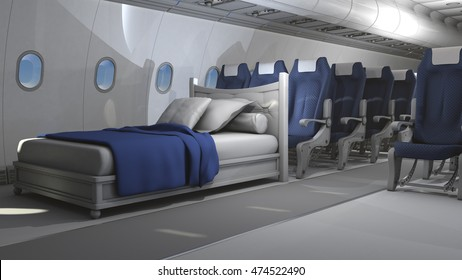 3D illustration of aircraft interior with bed