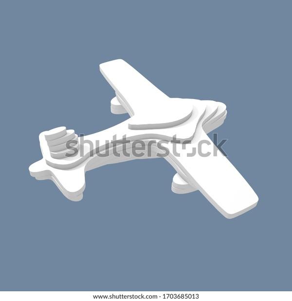 Illustration 3d, avion sur fond bleu