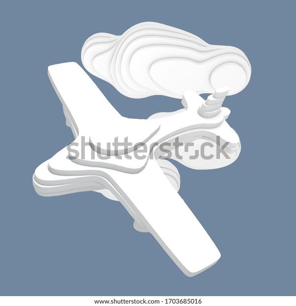 Illustration 3d, un avion sur fond bleu avec nuages