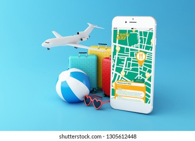 3d illustration. Airplane, sunglasses, travel suitcase and beach ball with smartphone showing GPS map navigation app to find a restaurant on screen.  All screen graphics are made up by us