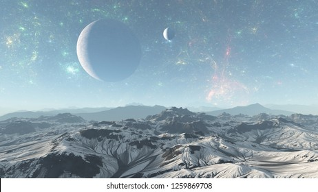 3D Illustration of  alien planet in space with nebula and stars. Planet in space, Surface of alien planet in space,Planet with galaxies and stars in open space.Alien planet cold mountain