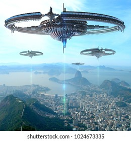 3D Illustration of alien spaceships or drone fleet supplying energy, over Rio De Janeiro, Brazil, for futuristic interstellar travel, energy supply, or fantasy war-games