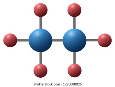 3d illustration of alkane chemistry chemical compound is C2H6 with single bond called Ethane composed of two carbon atoms joined in six hydrogen atoms.