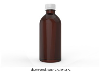 3d Illustration, Amber bottle Mock-up with white cap, Photo-realistic packaging mockup template