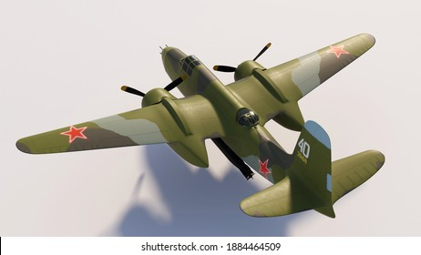 3D illustration. American bomber-torpedo plane with emblems of the Soviet army