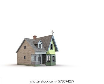 3d illustration of an American wooden house isolated on white background