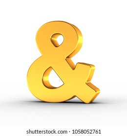 3D illustration of the Ampersand sign symbol as a polished golden object over white background with clipping path for quick and accurate isolation.