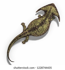 3D illustration of an amphibian  dinosaur diplocaulus over white