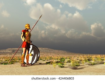 3d illustration of an ancient Greek warrior