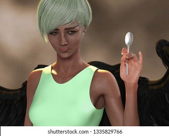 3D Illustration of an Angel Girl Holding up a Spoon