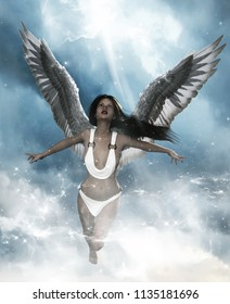 3d illustration of an Angel in heaven land,Mixed media for book illustration or book cover