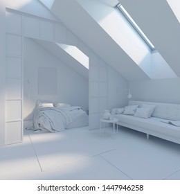 3d illustration. Apartments in the attic in white computer stuff