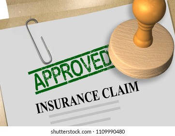 3D illustration of APPROVED stamp title on insurance claim document