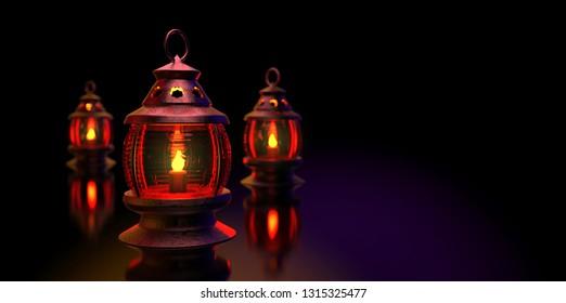 3D illustration of arabian Ramadan lanterns with candles