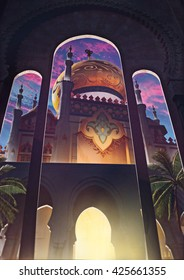 3d illustration, arabic architectural by night